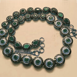 Vintage 11.81ct Rose Cut Diamond Emerald Studded Silver Amazing Necklace Jewelry