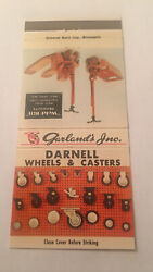 Vintage Matchbook Cover Matchcover Garland's Inc Darnell Wheels Casters