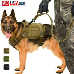 Tactical K9 Training Molle Dog Military Adjustable Nylon Vest Harness Leash USA