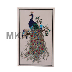 Peacock Vintage Marble Wall Panel Handmade Mosaic Inlay Marquetry Scagliola Art