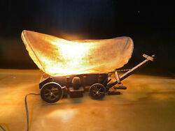 Vintage Primative Western Covered Wood Wagon Table Pull Chain Lamp Light