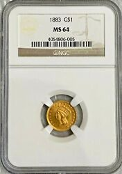 1883 1 Dollar Gold Coin Type 3 Ngc Ms 64