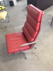 Eames Herman Miller Soft Pad Aluminum Group Lounge Chair Red Leather