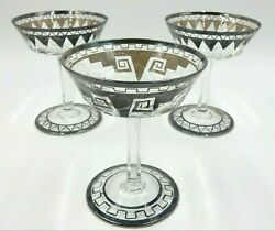 Set Of 3 Antique Stemware 4-1/2 Glasses Silver Rims With Triangle Patterns
