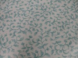 New Polished Cotton Fabric BTY Turquoise Vine Print 56quot; Wide Decorator Lot 5 $6.00