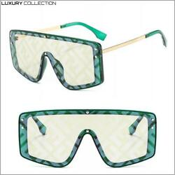 LUXURY Designer Style Retro Shield SUNGLASSES Green amp; Gold Frame Light Tint Lens $19.99