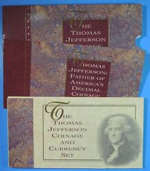 1993 The Thomas Jefferson Coinage And Currency Set Silver Dollar Nickel And 2 Note