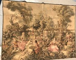 Big Antique Vintage French Wall Hanging Tapestry 140 X 190 Cm