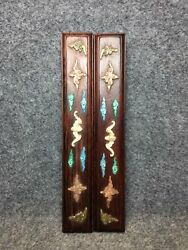 9 Chinese Antique Old Huali Wood Handmade Inlay Cloud Bat Statues