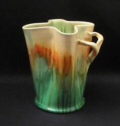 Signed Remued Australian Pottery Branch Twig Handle Drip Glaze Vase Early Series