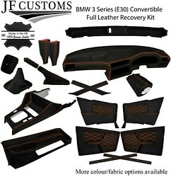 Orange Stitch Leather Covers For Bmw 3 Series E30 Convertible Full Interior Kit