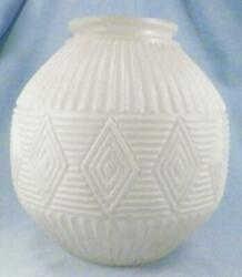 Frosted Glass Lamp Shade Globe Diamonds Ribs White Large Table Austria 9