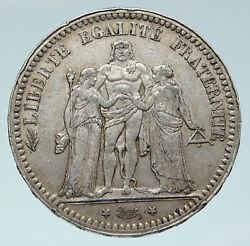 1873 A France Hercules Group Antique Vintage Silver 5 Franc French Coin I86432