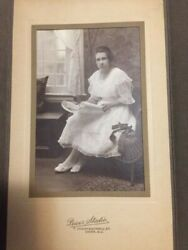 Antique Photo - Same Young Lady In 2 Photos Looking A Paper Plans Layout 4x6