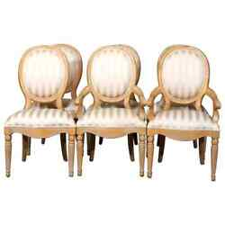 Six Vintage French Louis Xvi Style Upholstered Dining Chairs, 20th Century