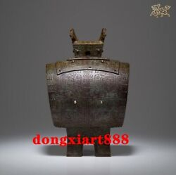 29 Cm Chinese Ancient Fengshui Pure Bronze Animal Drum Saving Pot Statue
