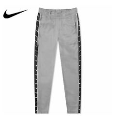 Nike Taped Poly Track Pants Wolf Grey Black AR3142 012 Men#x27;s Size Extra Large