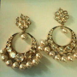 Estate 4.55cts Genuine Old Mine Antique Cut Diamond Pearl Silver Earring Jewelry
