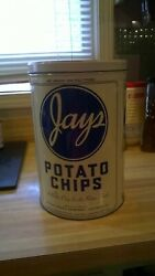 Rare Vintage Jays Metal Potato Chip Can - 1986 Limited Edition Tin 11 1/2 Tall
