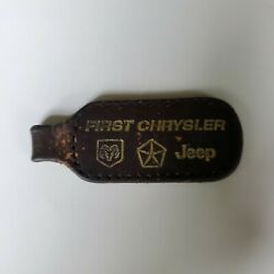 First Chrysler Jeep Dealer Manitowoc Wisconsin Leather Keychain