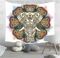 NEW Elephant Mandala Wall Hanging Decor Hippie Boho Bohemian Tapestry White Lrg