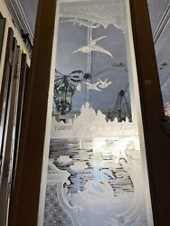 Erched Glass Door With Swan And Castle 102x31