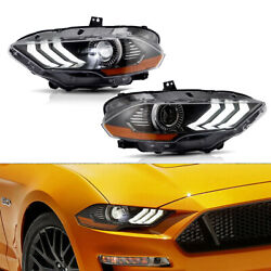 One Pair For Ford Mustang 2018-2019 Drl Dual Beam Front Lamps Led Headlights