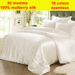 4pc 22mm 100 Pure Silk Fitted/bottom And Flat/top Sheet Pillow Cases Set Seamless