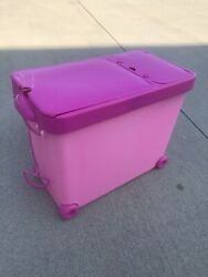 Barbie Rolling Storage Case Tote Bin Pink Barbie Doll Storage Wheels