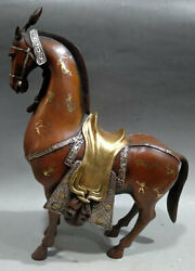 13.6 Old Chinese Gold Gilt Silver Purple Bronze War-horse Statue