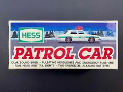 1993 Hess Toy Truck Patrol Car New Gas Oil Station Police Cop Squad Fire Chief