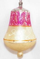 Mercury Glass Christmas Ornament Bell Pink Gold Poland Large Vintage 74