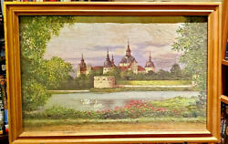 Swans By German Monastery Castle By Mystery Signature Original 1880s 18 X11 Nr