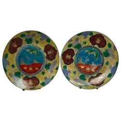 Antique Japanese Aesthetic Imari Porcelain Butterfly Charger 19th Century Pair