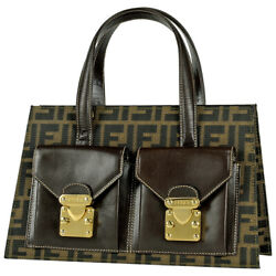 Pre-owned Fendi 0914750 Zucca 2way Handbag Brown Canvas Leather Free Shipping