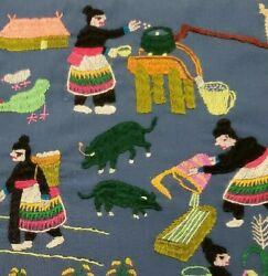 Hmong Vintage Story Cloth Hand-made Embroidery Village Life Scene 17x15 1980s