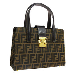 Fendi Zucca Pattern 2way Hand Bag Brown Canvas Leather Vintage Italy A46757g