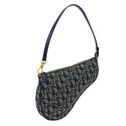 Christian Dior Trotter Saddle Hand Bag Pouch Mc0031 Navy Gray Canvas Auth R11739