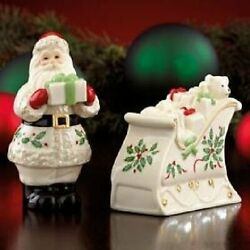 Lenox Holiday Pattern Salt And Pepper - Santa And Sleigh Shakers