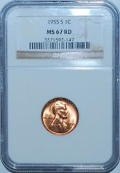 1955 S Ngc Ms67rd Red Lincoln Wheat Cent Penny