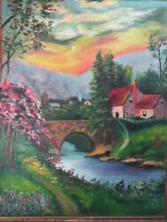 Antique Old Art House Sunset Trees American Americana Landscape Oil Painting