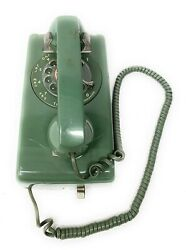 Vintage Atandt Bell System 554 Bpm Rotary Dial Wall Telephone Greenretro1970's