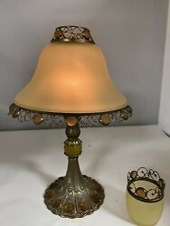 Vintage Partylite Tall Brass Candle Holder Lamp W/frosted Amber Globe And Votive