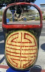 Antique Home Decor, Chinese Bamboo And Wood Flour Basket Lacquered Hand Painted