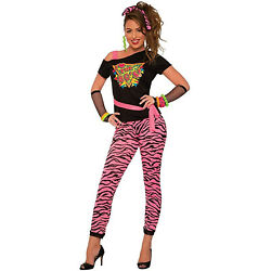 I Love The 80s Wild Womens Halloween Costume Top Zebra Stripe Leggings Hair Tie