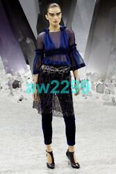 12a 7600 Nwt Rare Embroidered Lace Sheer Skirt Cc Logo Purple And Black 36