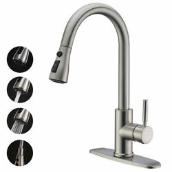 Commercial Kitchen Sink Faucet Stainless Steel Pull Down Sprayer Single Handle