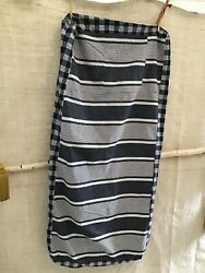 Antique / Vintage French Cotton Blue Stripe Ticking And Blue Plaid Fabric