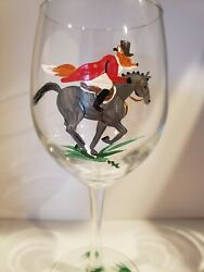 Fox Hunt, Fox/horse Hand Painted Wine Glasses. Mr Fox At Full Cry Set Of 4.