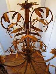Mid Century Italain Faux Bamboo Gold Gilt On Iron Chinese Regency Chandelier1960